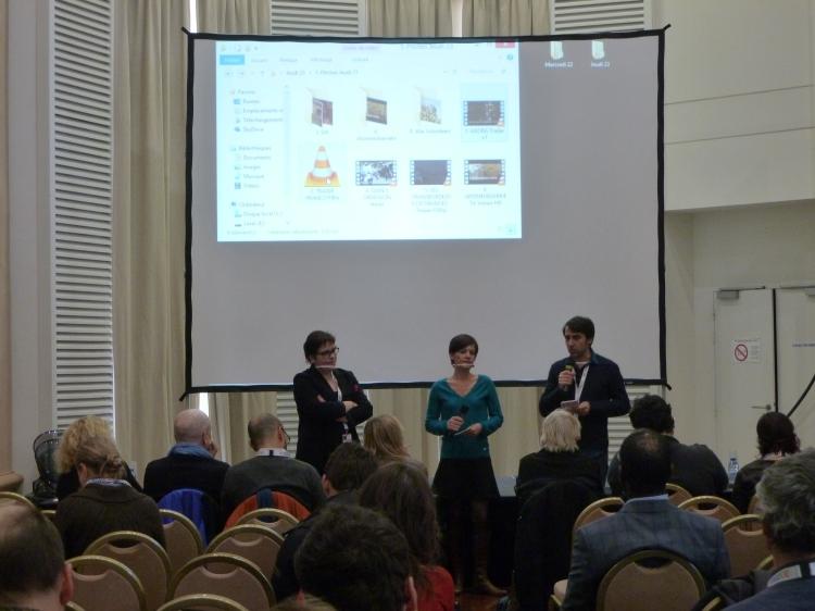 """Marie Vidalenc (productrice) et Juan Gordillo Hidalgo et Sandrine Mercier (réalisateurs) lors du pitch de """"Paseo con Franco"""""""